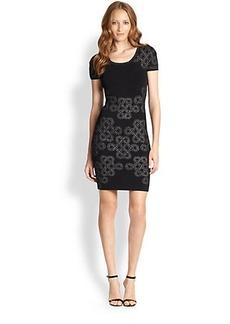 Diane von Furstenberg Glittered-Pattern Knit Body-Con Dress