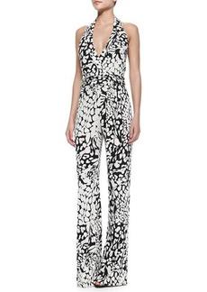 Diane von Furstenberg Halter-Neck Tie-Waist Printed Jumpsuit