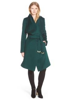 Diane von Furstenberg 'Harlow' Drape Collar Wool Blend Wrap Coat