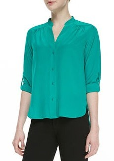 Diane von Furstenberg Harlow Long-Sleeve Pleated Shoulder-Blouse, Zephyr Green