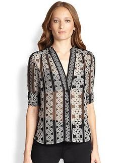 Diane von Furstenberg Harlow Sheer Silk Knot-Print Blouse