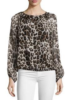 Diane von Furstenberg Hathaway Cheetah-Print Silk Top