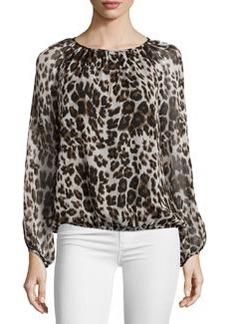 Diane von Furstenberg Hathaway Cheetah-Print Silk Top, Cream