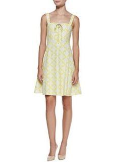 Diane Von Furstenberg Henna Diamond-Print Dress with Corset Bodice, Yellow