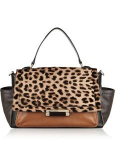 Diane von Furstenberg Highline Courier leopard-print calf hair bag