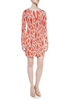 Diane von Furstenberg Ikat-Print Long-Sleeve Dress