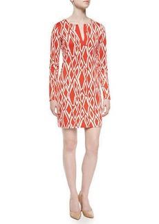 Diane von Furstenberg Ikat-Print Long-Sleeve Dress