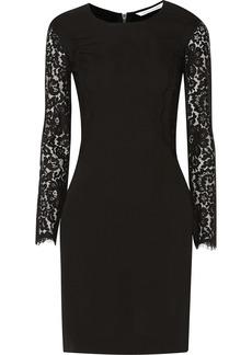 Diane von Furstenberg India lace-paneled crepe dress