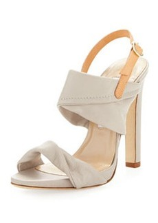 Diane von Furstenberg Jacey Leather Slingback Sandal, Light Taupe