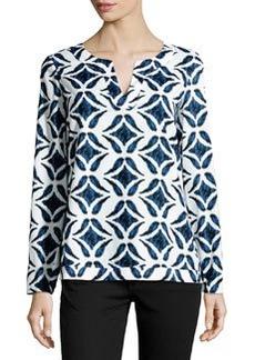 Diane Von Furstenberg Jaden Ikat Batik-Print Voile Top, White/Blue