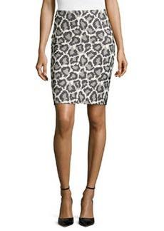 Diane von Furstenberg Jaguar-Print Jacquard Miniskirt, Black/Ivory/Fog