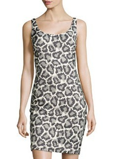 Diane von Furstenberg Jaguar-Print Jacquard Sleeveless Dress, Black/Ivory/Fog