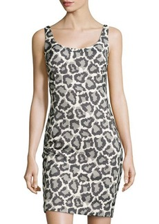 Diane von Furstenberg Jaguar-Print Jacquard Sleeveless Dress