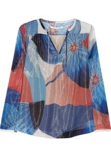 Diane von Furstenberg Jana printed metallic silk-blend gauze top