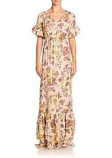 Diane von Furstenberg Jane Printed Ruffle Maxi Dress