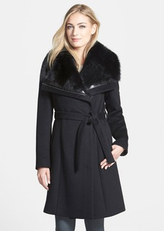 Diane von Furstenberg 'Janice' Genuine Toscana Shearling Trim Wool Blend Coat