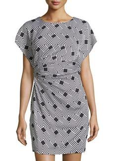 Diane von Furstenberg Jenna Geometric-Stripe Side-Gathered Dress