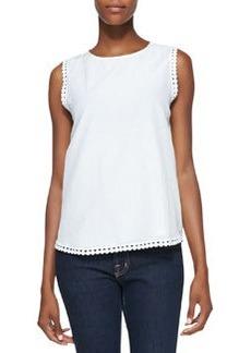 Diane Von Furstenberg Jessa Sleeveless Decorative-Trim Top, White