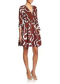 Diane von Furstenberg Jewel Printed Silk & Linen Wrap Dress