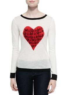 Diane von Furstenberg Jillna Boat-Neck Sweater with Heart Message