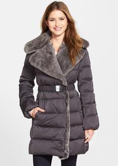 Diane von Furstenberg 'Joan' Genuine Rabbit Fur Trim Belted Down Coat