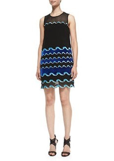 Diane von Furstenberg Joan Wave-Pattern Sheer Dress