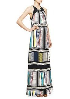 Diane von Furstenberg Jordan Halter Glass Scarf-Print Maxi Dress, Black/Multicolor
