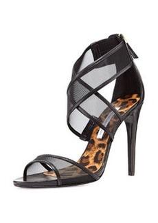 Diane von Furstenberg Jules Mesh Crisscross Sandal, Black