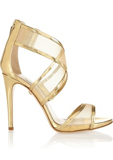 Diane von Furstenberg Jules metallic leather and mesh sandals
