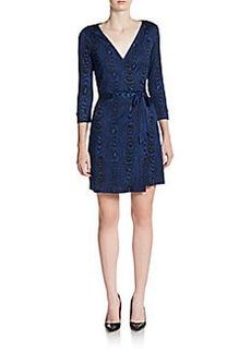 Diane von Furstenberg Julian Silk Tree Ring-Print Wrap Dress