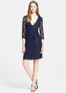 Diane von Furstenberg 'Julianna' Three Quarter Sleeve Lace Wrap Dress