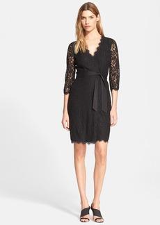 Diane von Furstenberg 'Julianna' Three Quarter Sleeve Lace Wrap Dress