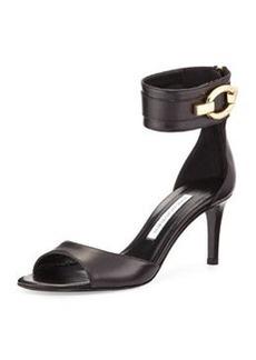 Diane von Furstenberg Kara Ankle-Wrap Leather Pump, Black
