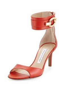 Diane von Furstenberg Kara Ankle-Wrap Leather Pump, Cayenne