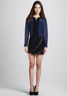 Diane von Furstenberg Karina Leather Panel Skirt