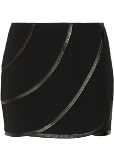 Diane von Furstenberg Karina leather-trimmed crepe mini skirt