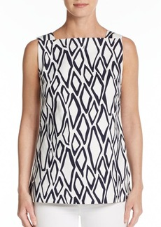 Diane von Furstenberg Kenza Printed Stretch-Cotton Top