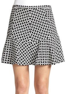 Diane von Furstenberg Key-Print Flared Mini Skirt