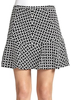 Diane von Furstenberg Key-Print Flared Mini Skirt