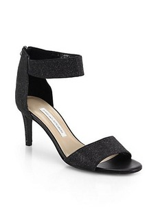 Diane von Furstenberg Kinder Glittery Leather Ankle-Strap Sandals