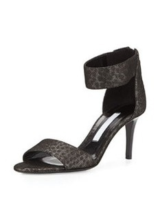 Diane von Furstenberg Kinder Metallic Kitten Heel Sandal, Pewter