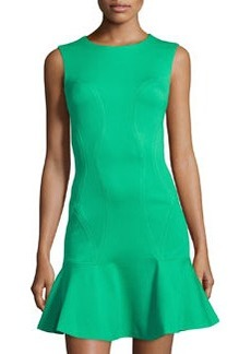 Diane von Furstenberg Knit Ruffle-Hem Sleeveless Dress, Hot Green
