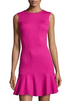 Diane von Furstenberg Knit Ruffle-Hem Sleeveless Dress, Pink Dhalia