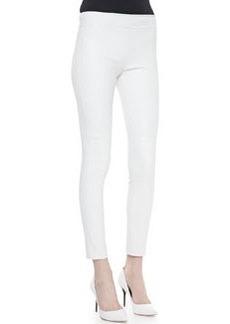 Diane Von Furstenberg Kristen Skinny Cropped Leather Pants, White