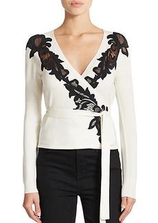 Diane von Furstenberg Lace-Detail Ballerina Wrap Sweater