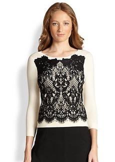 Diane von Furstenberg Lace-Front Stretch Pullover Sweater