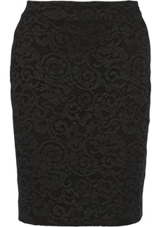 Diane von Furstenberg Lace-paneled jersey pencil skirt