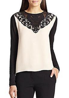Diane von Furstenberg Lace-Paneled Two-Tone Silk Blouse