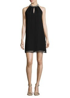 Diane von Furstenberg Lainey Embellished Halter Dress, Black