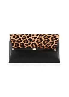 Diane von Furstenberg Large Calf-Hair Envelope Bag, Leopard/Black